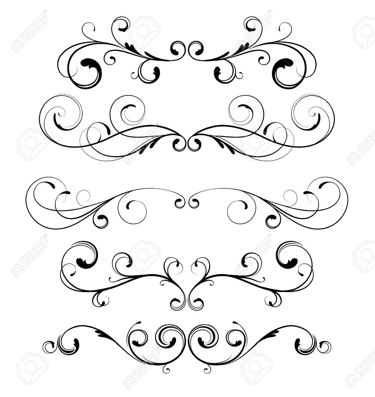 Vector set of floral decorative ornament page rules Stock Vector - 9022363
