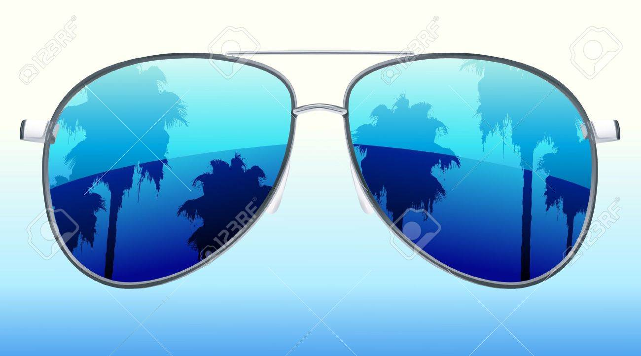 funky glasses  Funky Sunglasses With The Reflection Of Palmtrees Royalty Free ...