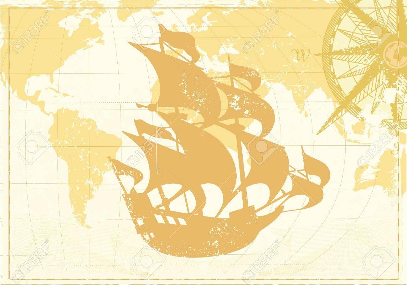 Archivio Fotografico   Illustrazione Di Vintage Parola Mappa Grunge  Background Con Bussola Retrò E Silhouette Di Veliero Retrò