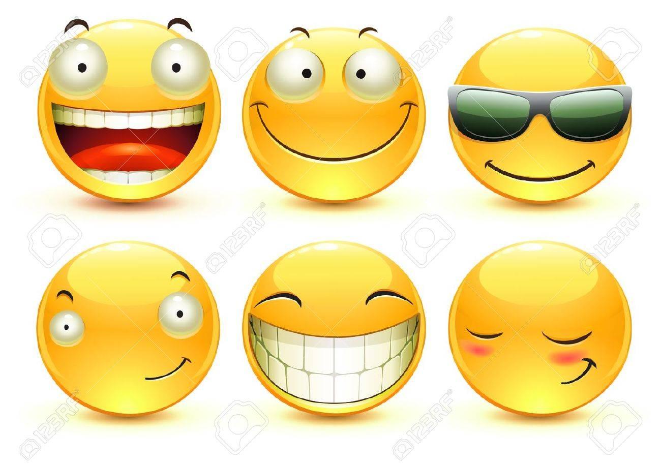 illustration set of cool glossy Single Emoticons - 9852554