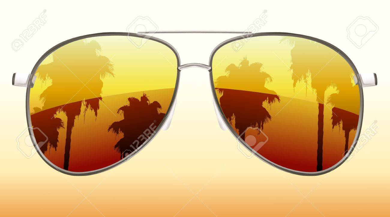 Illustration of funky sunglasses with the reflection of palm trees - 9852562