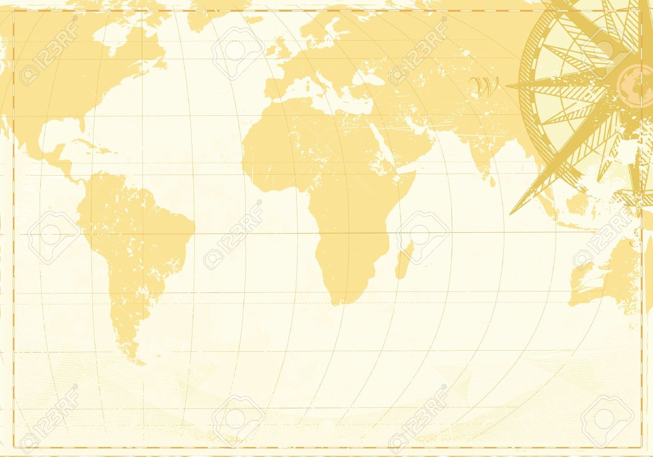 Background image in word - Vector Illustration Of Cool Grunge Background With Vintage Word Map And Retro Compass