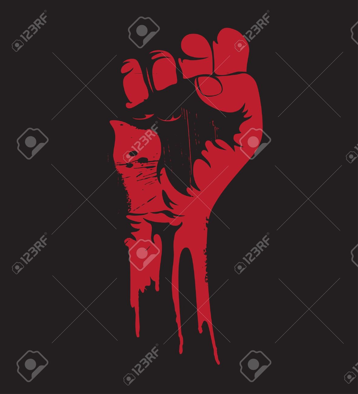 Vector illustration of a blooding clenched fist held high in protest. Stock Vector - 9931412