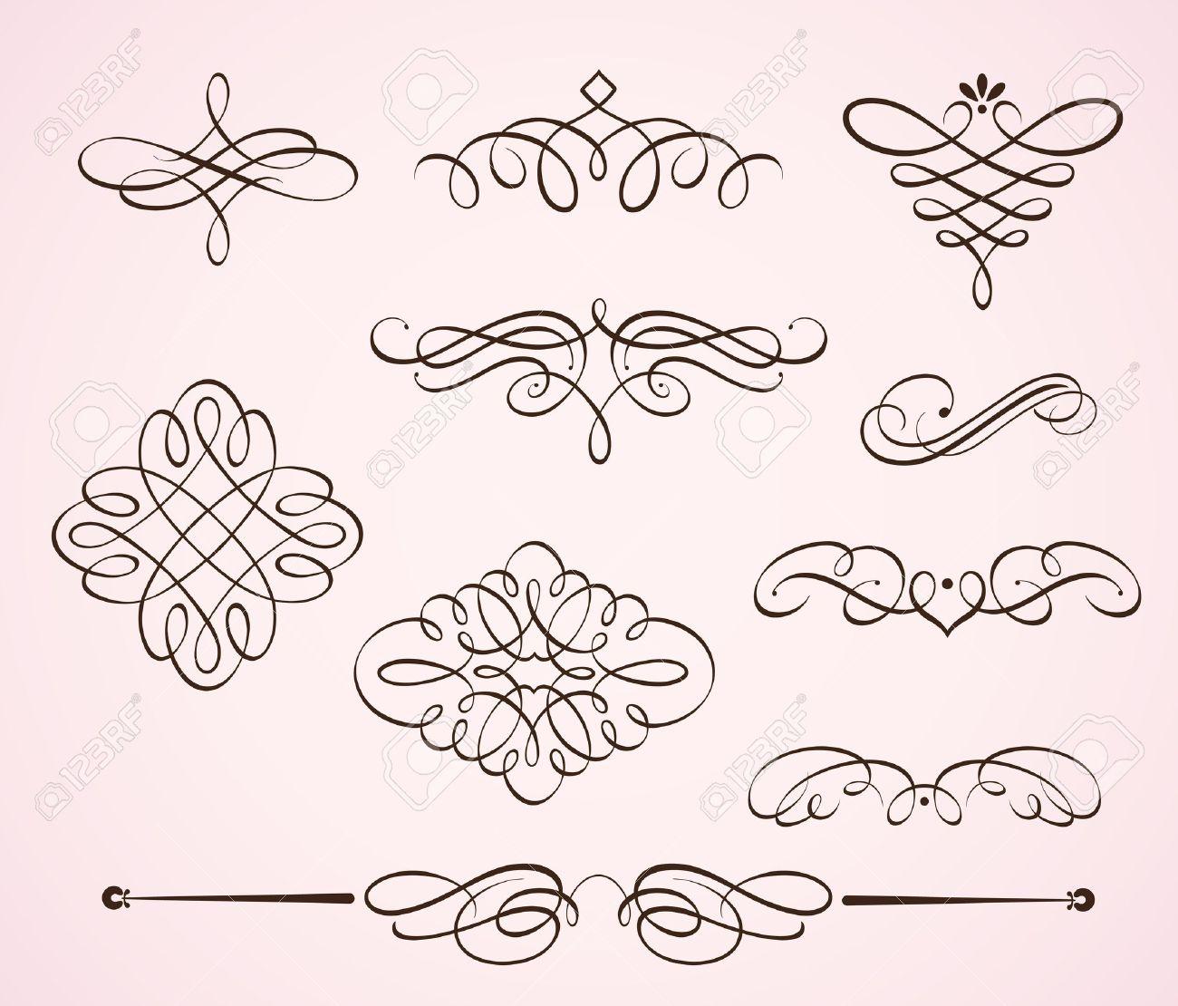 Vector Illustration Set Of Swirling Flourishes Decorative Floral ...