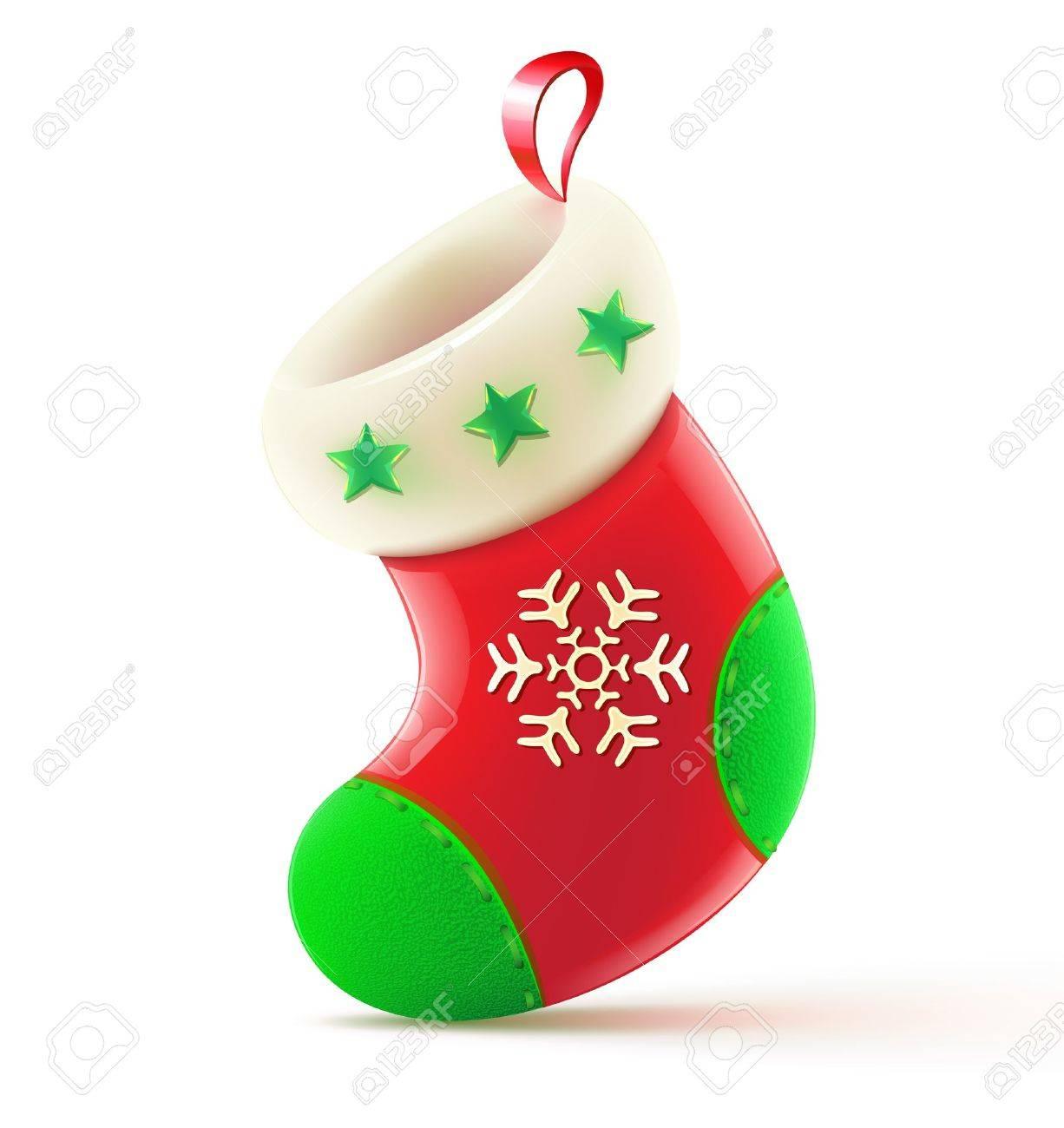 Vector illustration of shiny red Christmas stocking waiting for Santa - 10653255