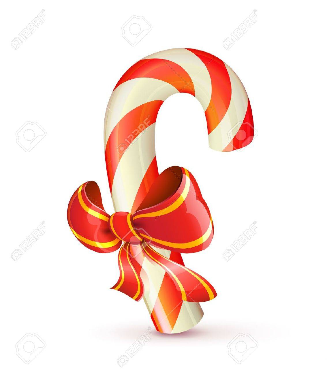 Vector Illustration Of Shiny Red Christmas Candy Cane With Bow ...