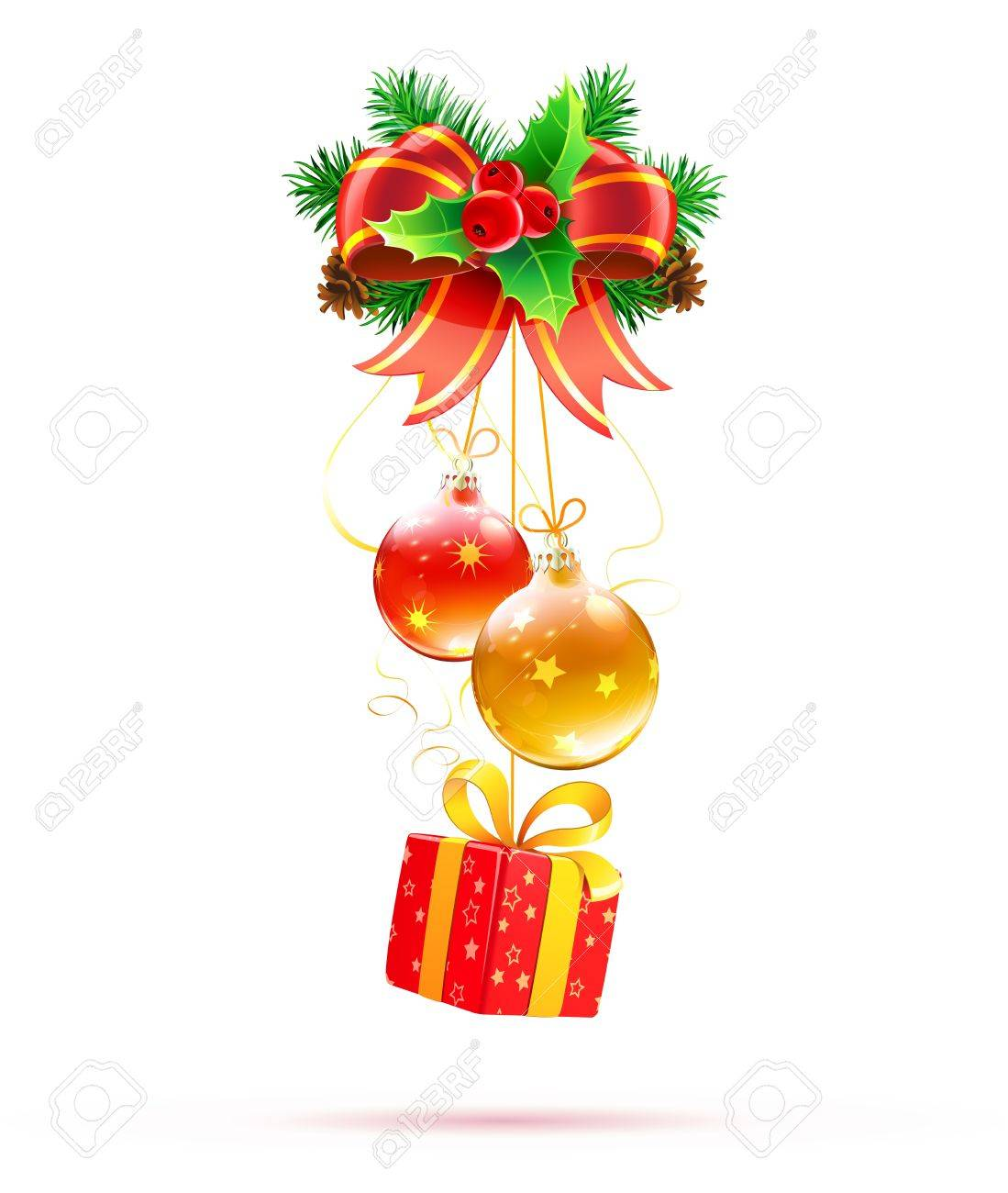 vector vector illustration of cool christmas decorations and funky gift box