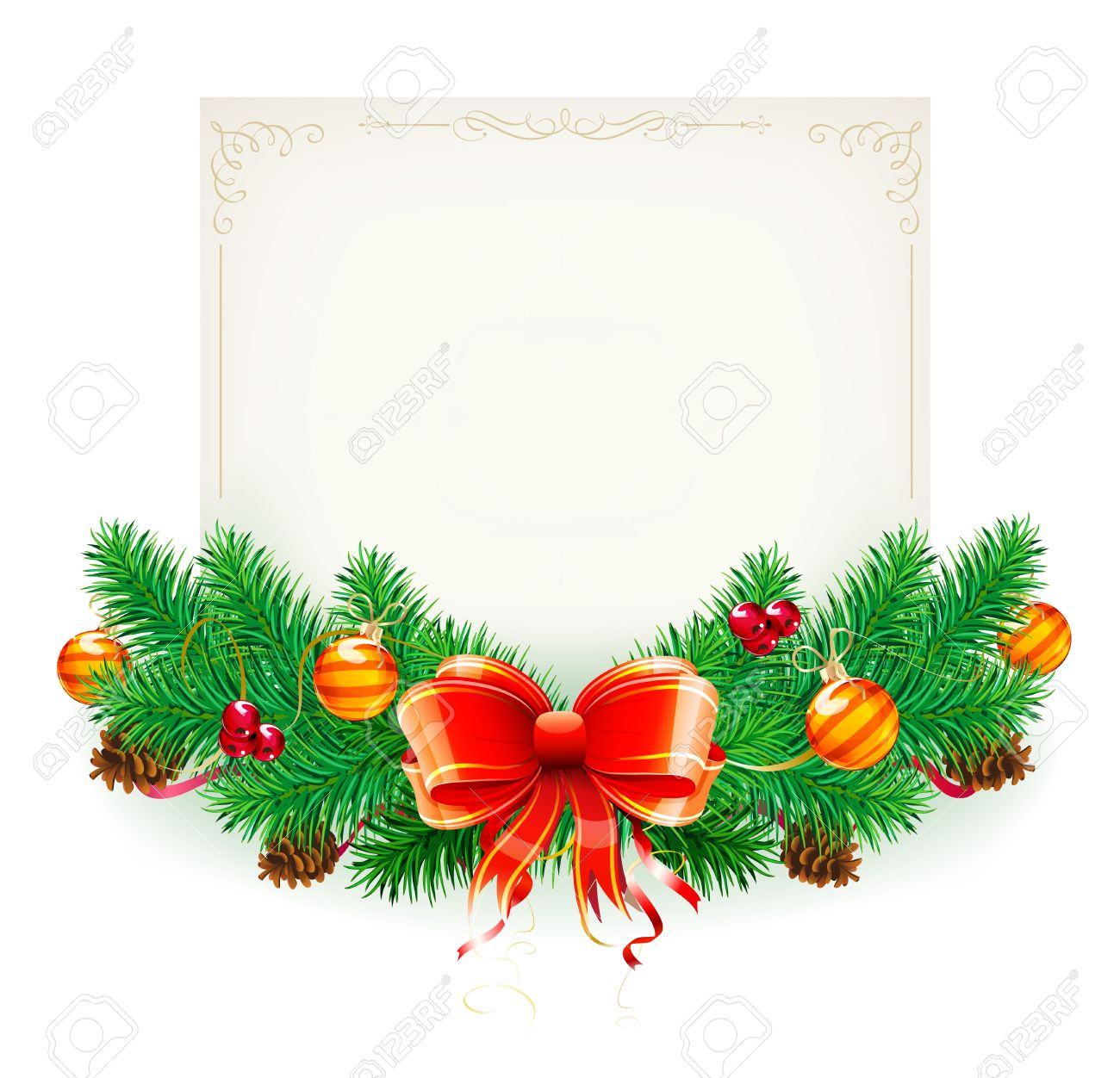 Vector illustration of Christmas decorative frame evergreen branches and bow Stock Vector - 10847219