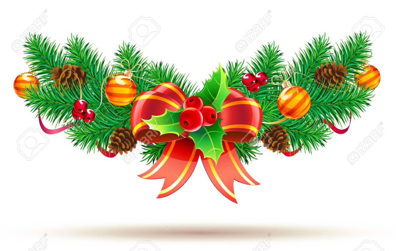 Vector illustration of cool Christmas composition with evergreen branches, red bow and ribbon Stock Vector - 10847215