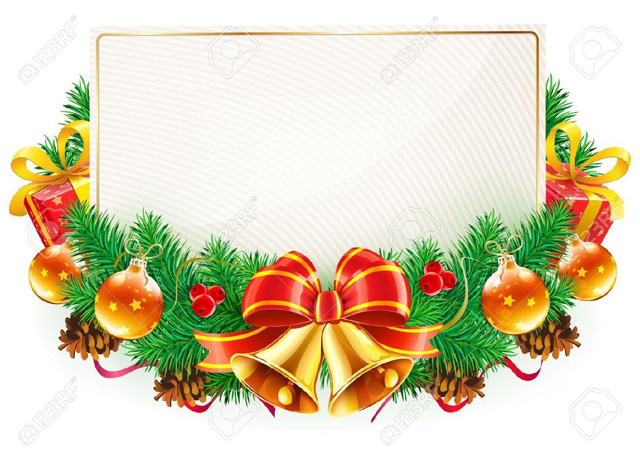 Vector Illustration Weihnachten Dekorativen Rahmen Mit Immergrünen