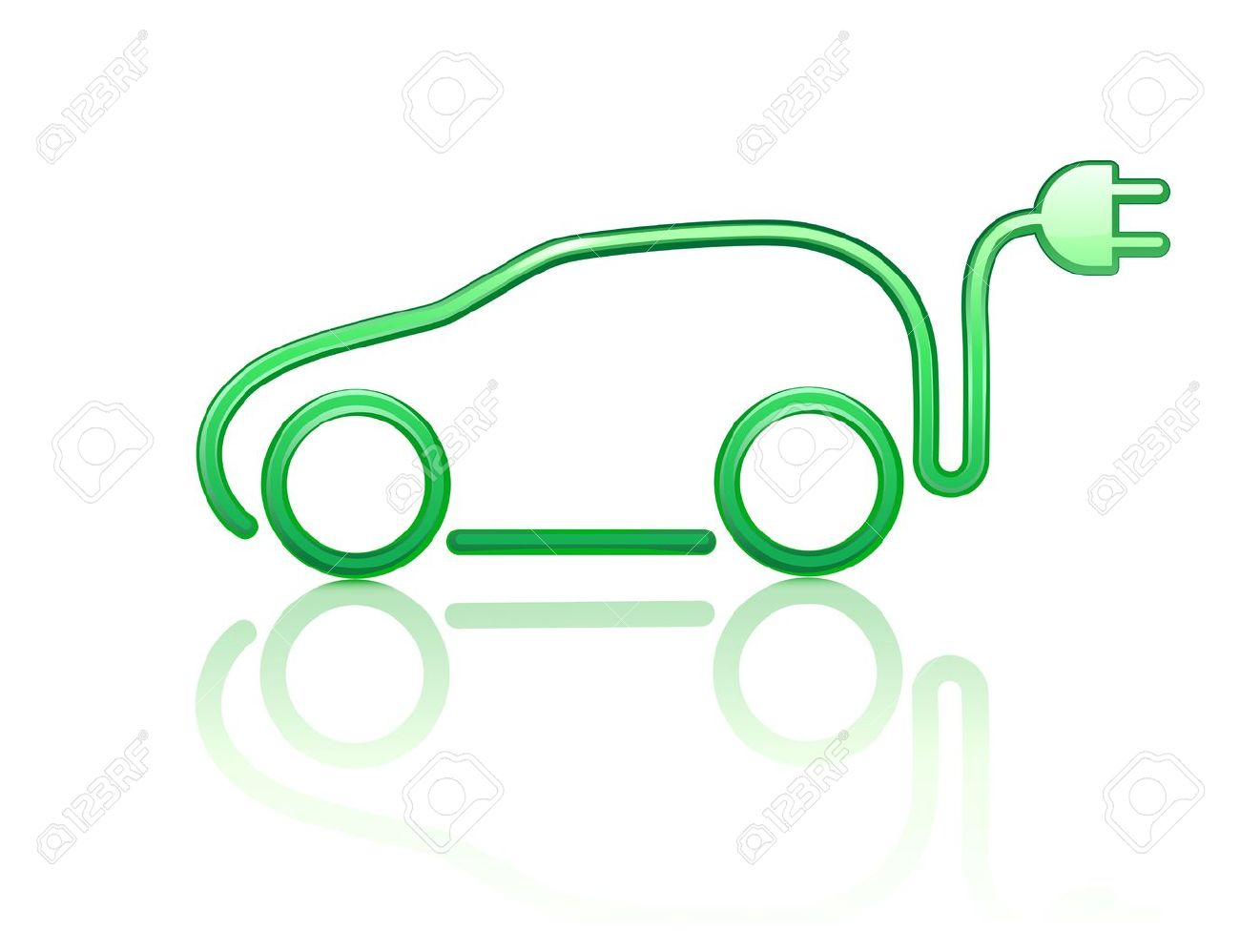 illustration of electric powered car symbol - 10939062