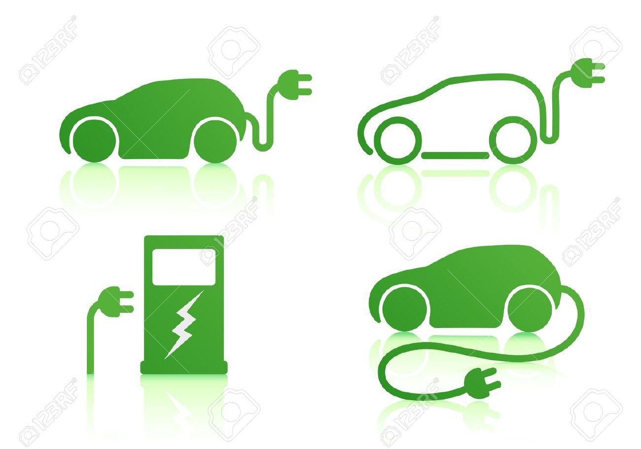 Vector illustration of electric powered car and charging point icons Stock Vector - 10939045