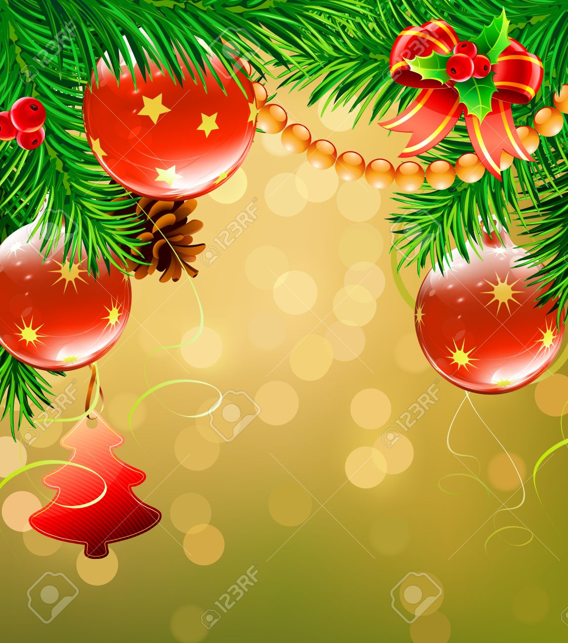Vector Illustration Of Christmas Decorative Background With