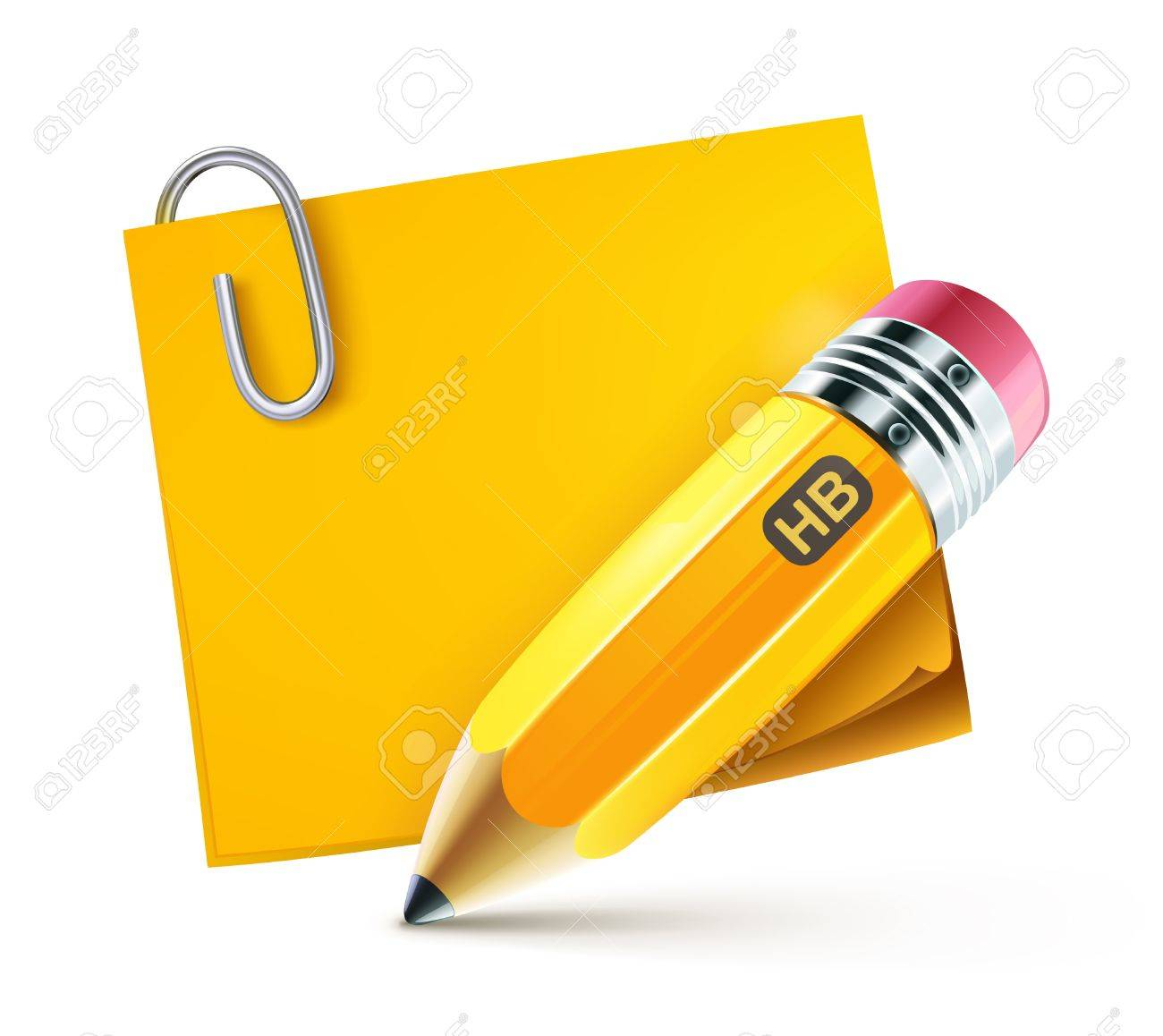 illustration of sharpened fat yellow pencil with postit pad Stock Vector - 11263319