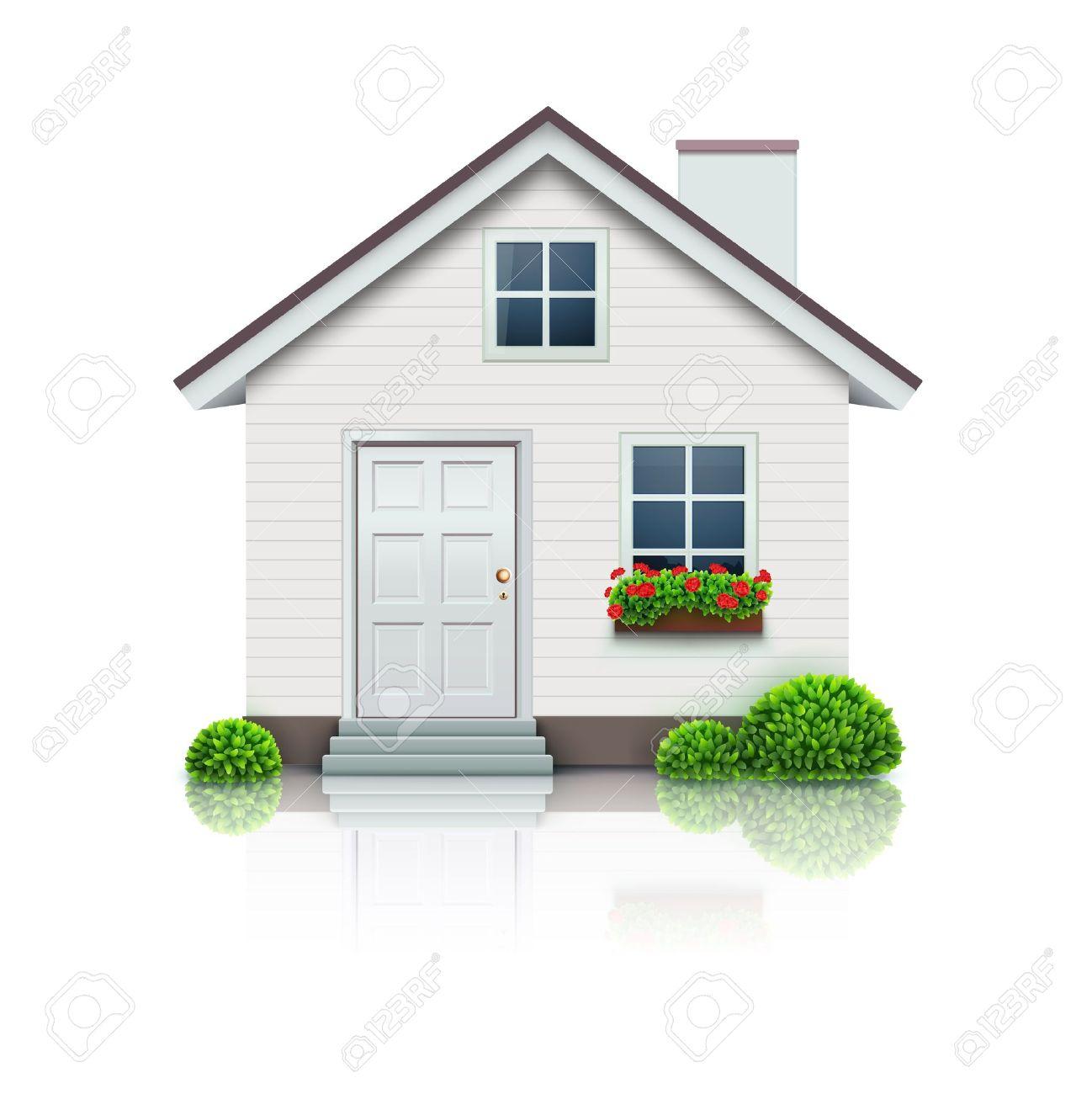 Vector Illustration Kühlen Detaillierte Haus-Symbol Auf Weißem ...
