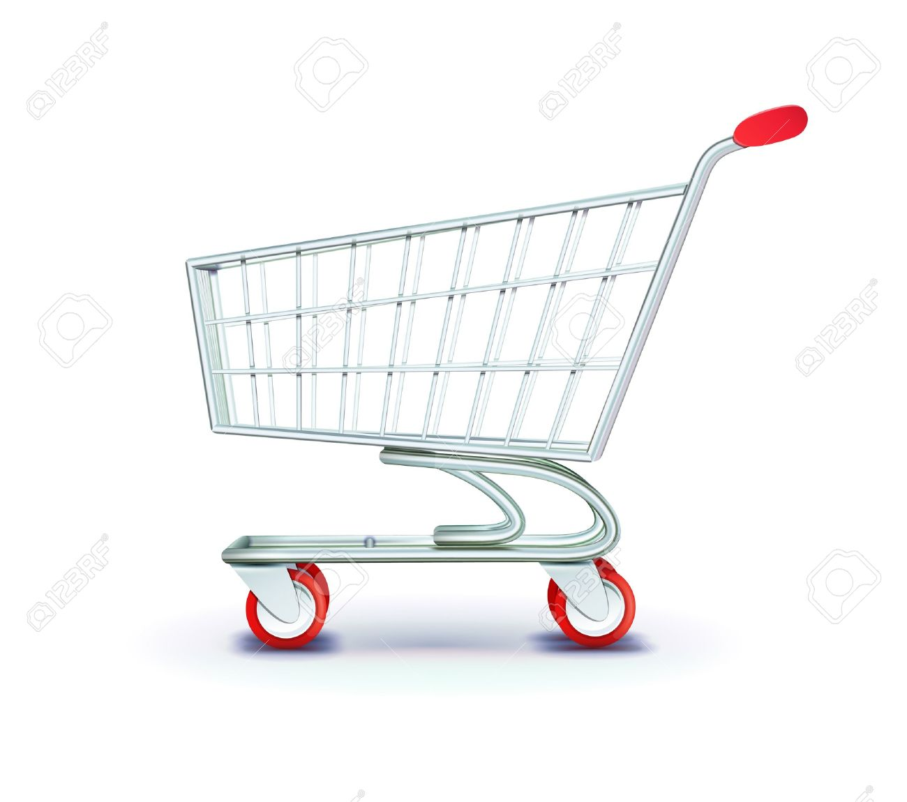 illustration of side view empty supermarket shopping cart isolated on white background. - 11576394