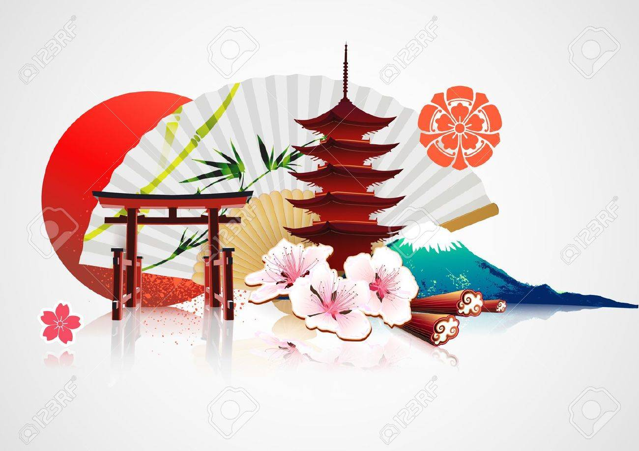 illustration of abstract styled Decorative Traditional Japanese background - 11576407