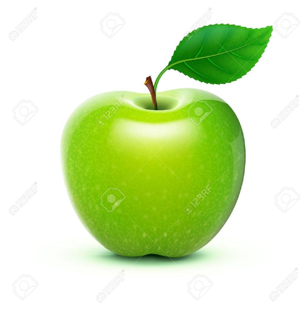Detallada Ilustración De Grande Y Brillante De Color Verde Manzana ...