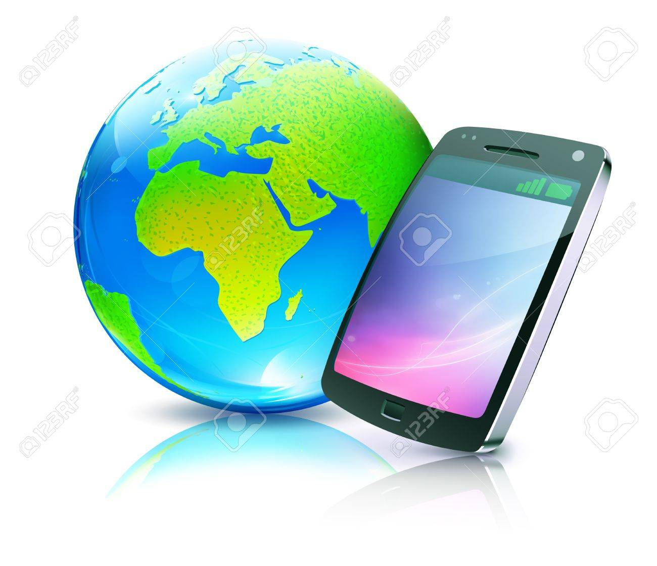 illustration of cool detailed cell phone icon with glossy earth map globe Stock Vector - 11666550