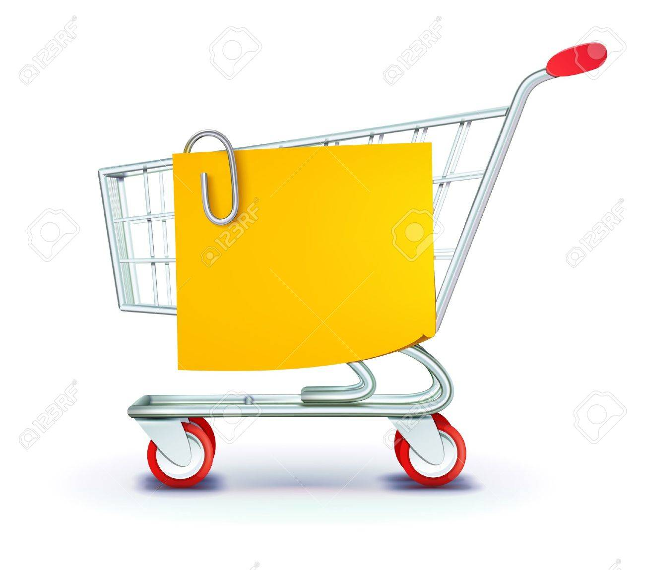 illustration set of shopping concept with shopping cart and yellow paper note list - 11666546