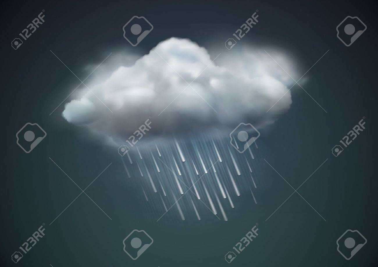 illustration of cool single weather icon - cloud with heavy fall rain in the dark sky Stock Vector - 12340230
