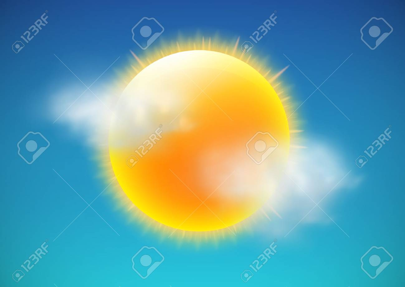 illustration of cool single weather icon-sun with few clouds floats in the sky - 12340232