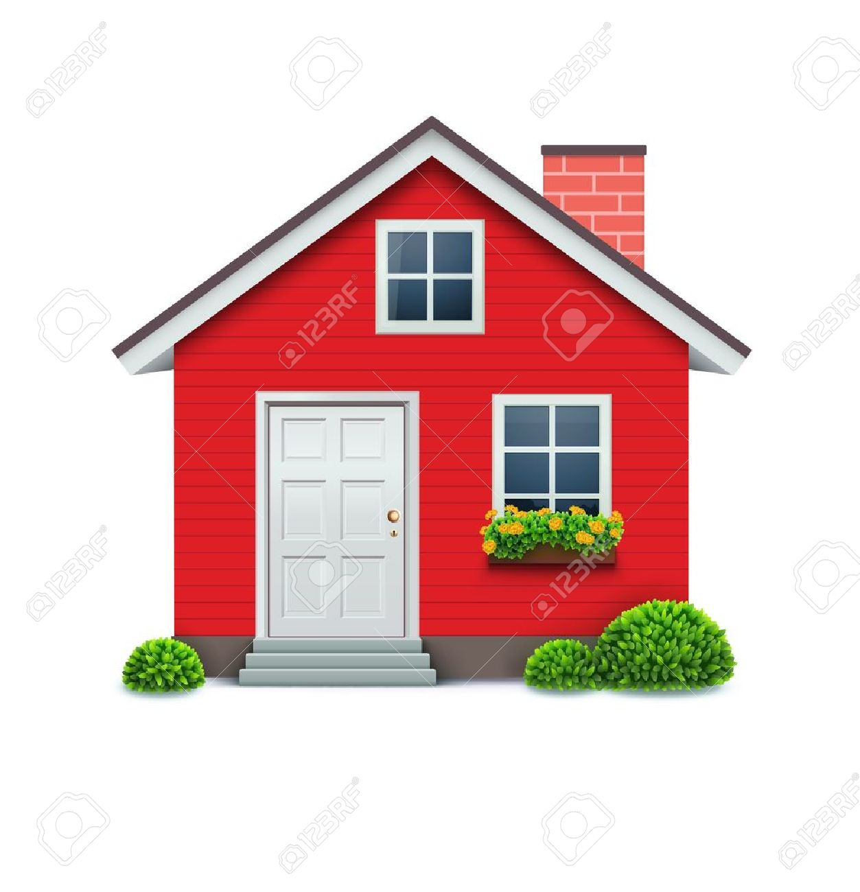 Great Illustration Of Cool Detailed Red House Icon Isolated On White Background.  Stock Vector   12340219