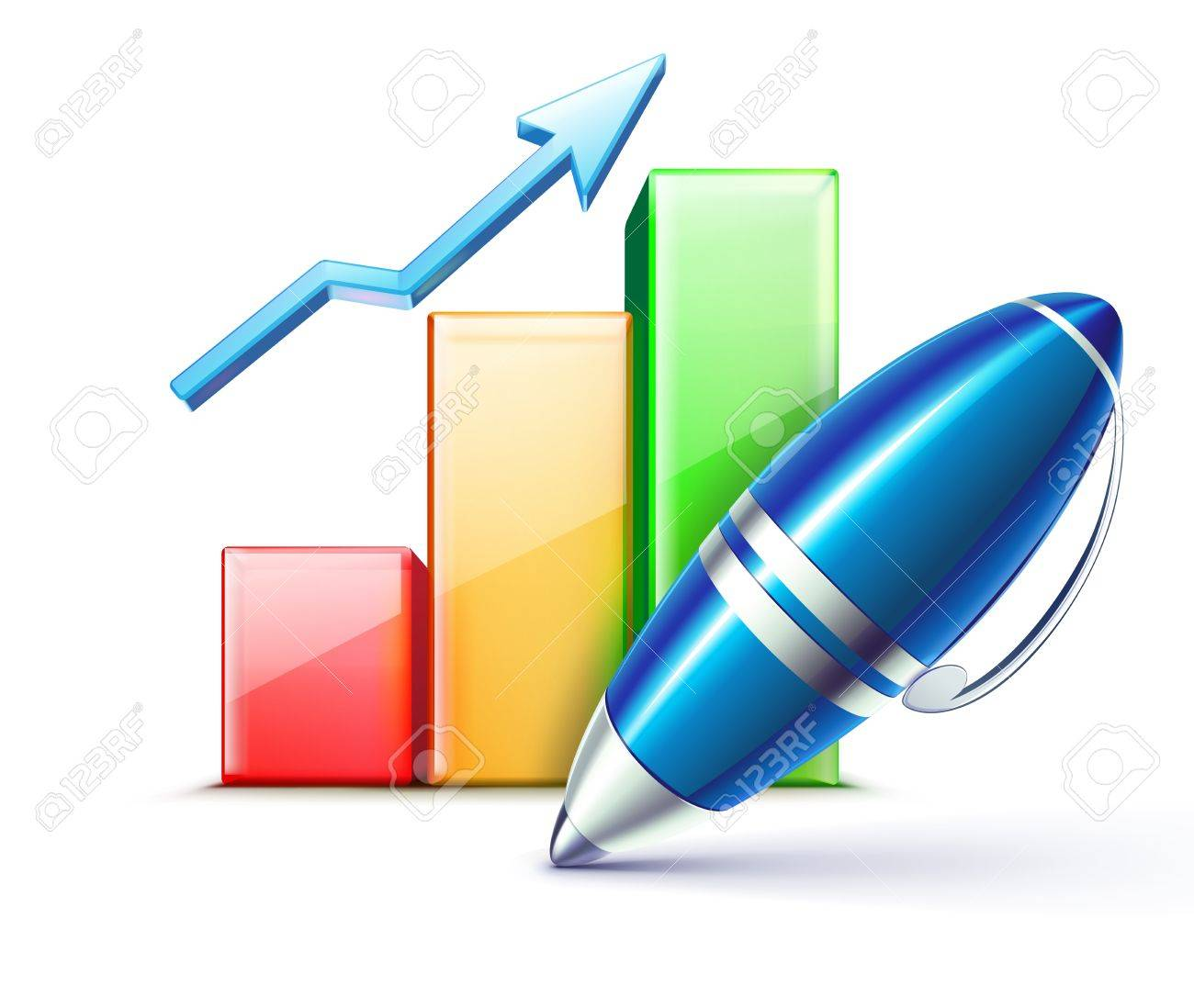 illustration of business concept with finance graph and  elegant ballpoint pen Stock Vector - 12340237