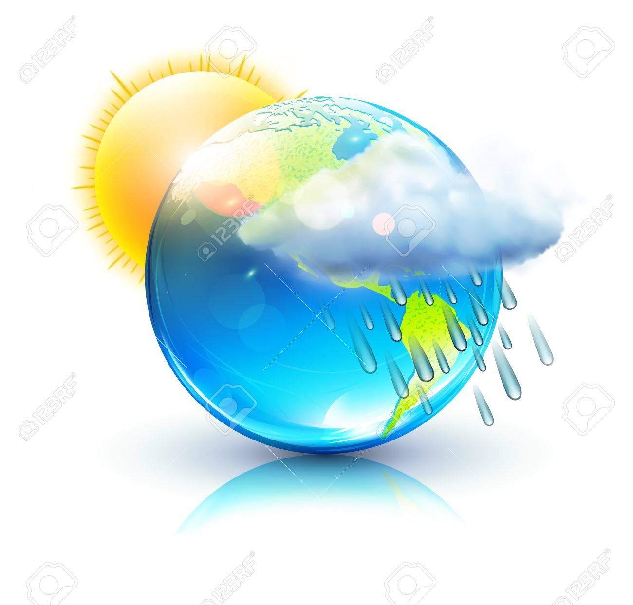 illustration of cool single weather icon &acirc,%uFFFD%uFFFD blue globe with sun, raincloud and raindrops - 12340255