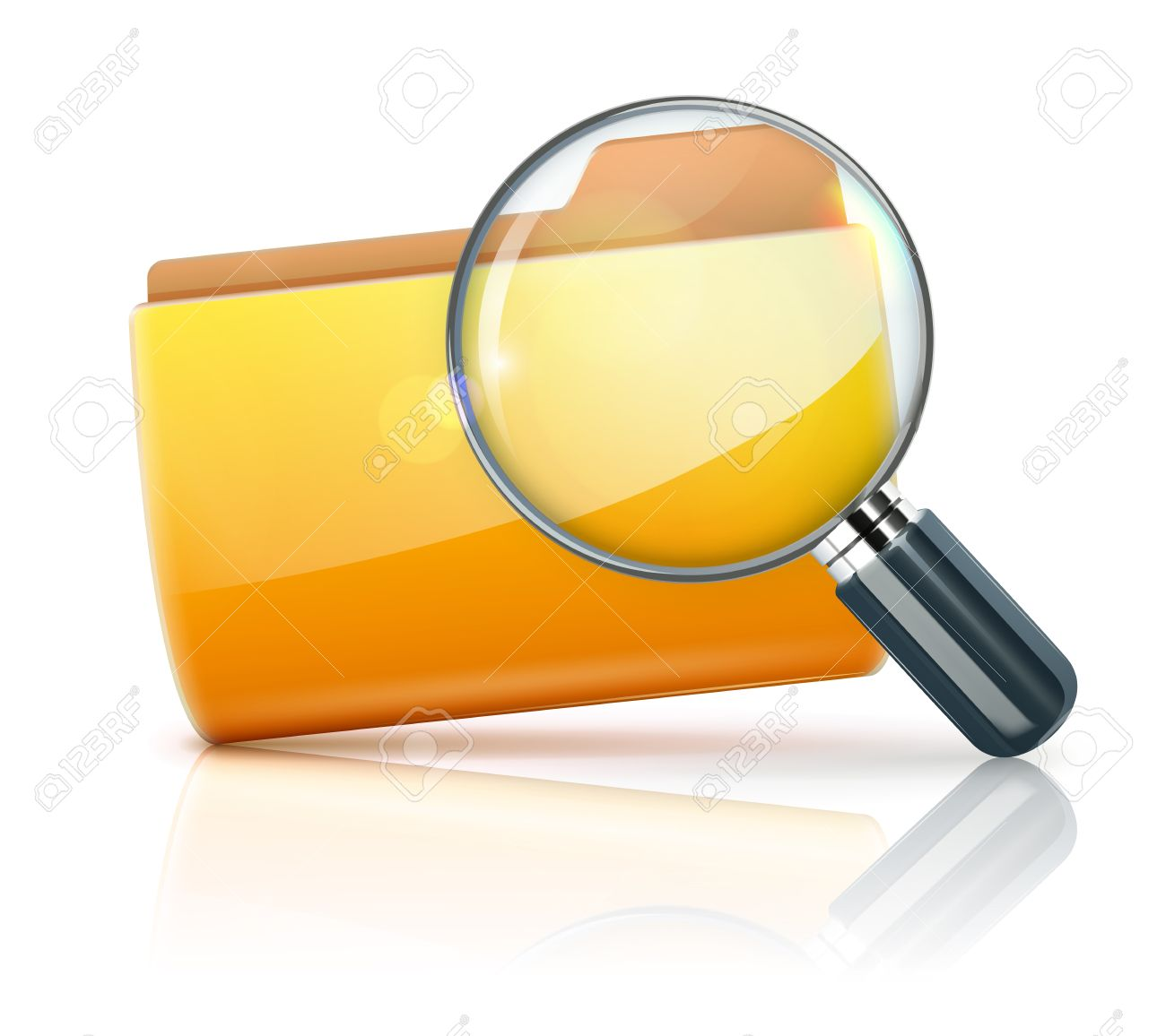 Vector illustration of search concept with yellow folder icon and magnifying glass Stock Vector - 12792975