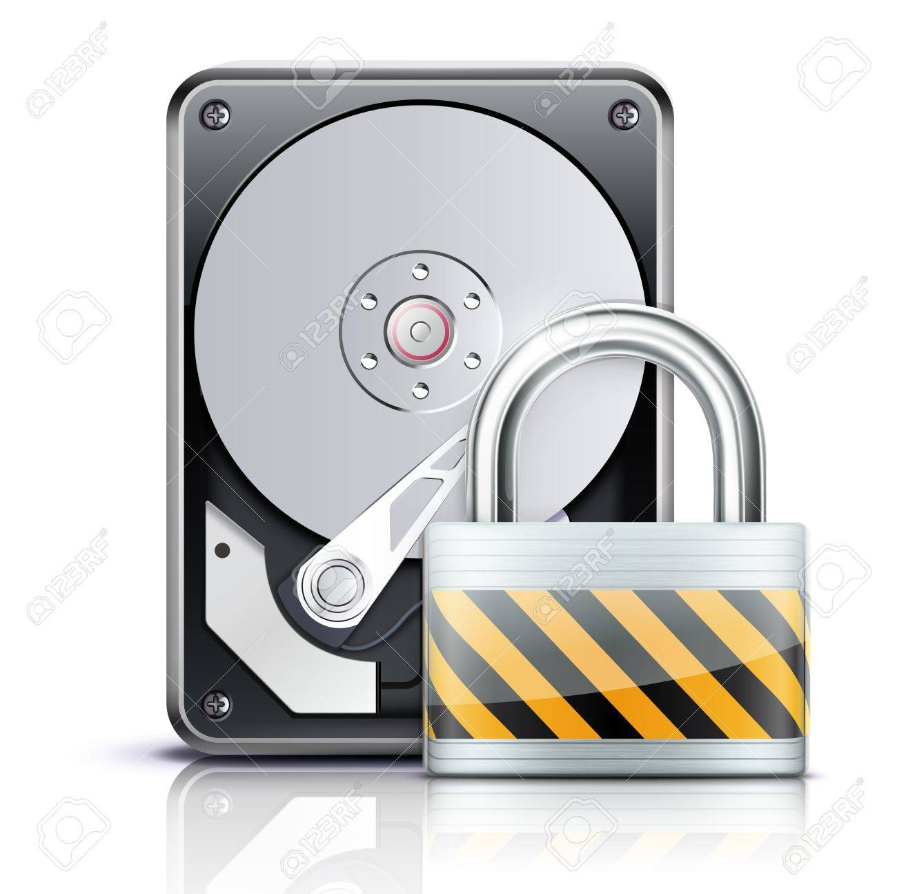 Vector illustration of security concept with opened hard drive disk and locked pad lock Stock Vector - 13234703