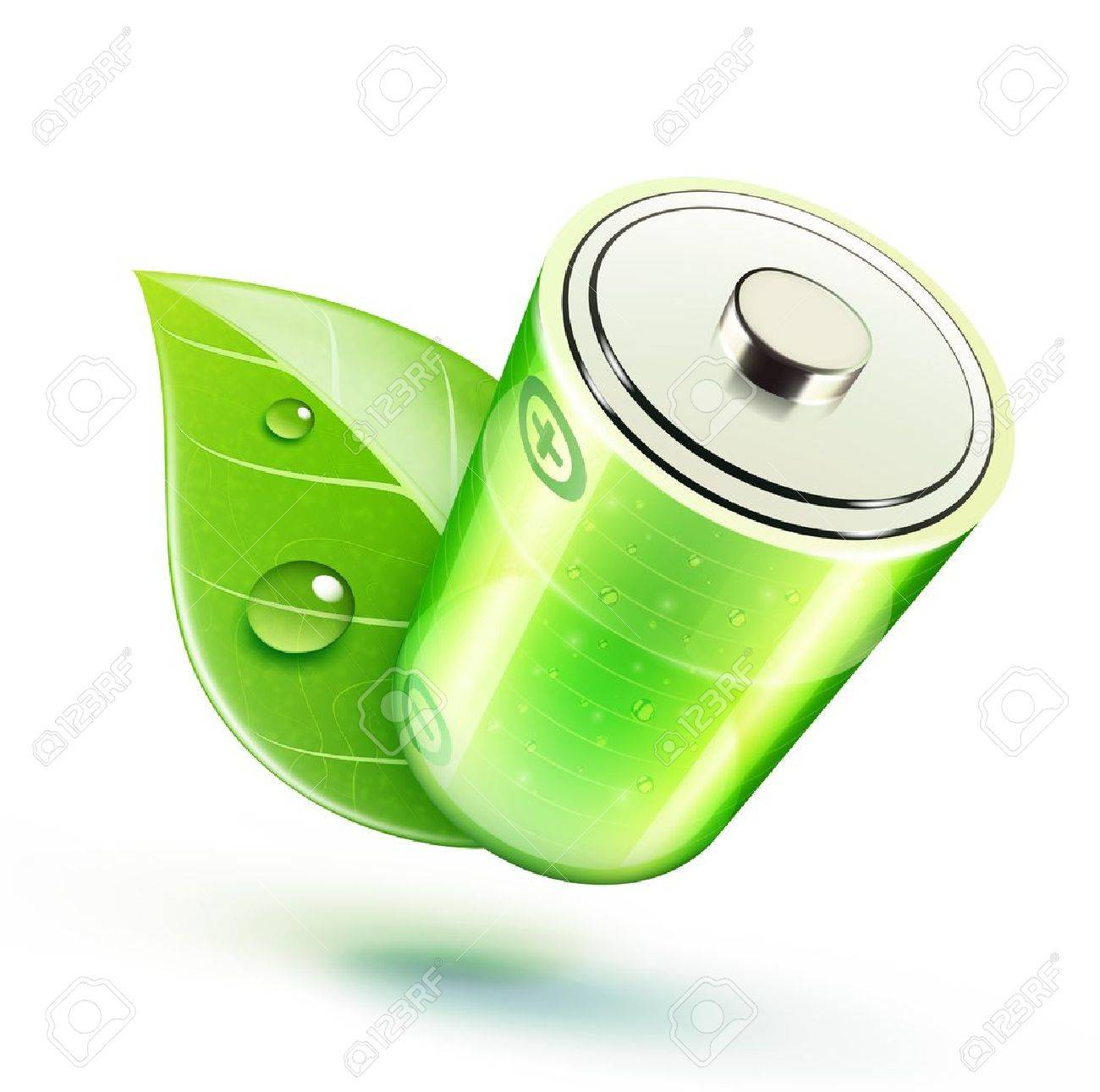 Vector illustration of ecology concept icon with glossy battery and green leaf Stock Vector - 13429716