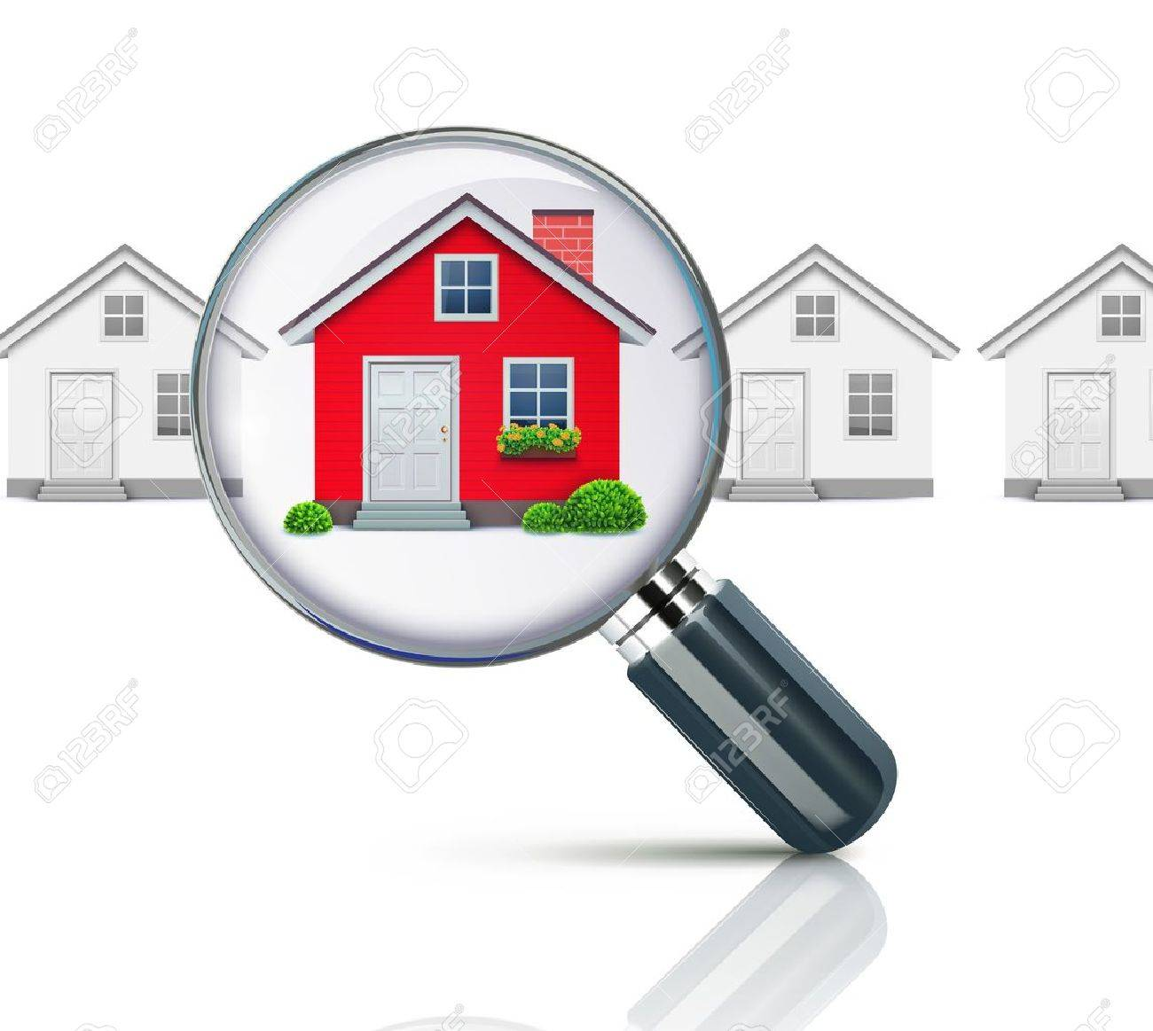 Vector illustration of real-estate concept with magnifying glass and your dream house Stock Vector - 13429717