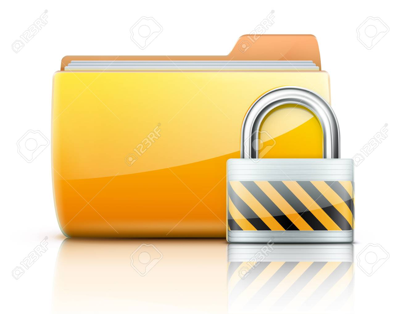 illustration of security concept with yellow folder and locked pad lock Stock Vector - 15064076