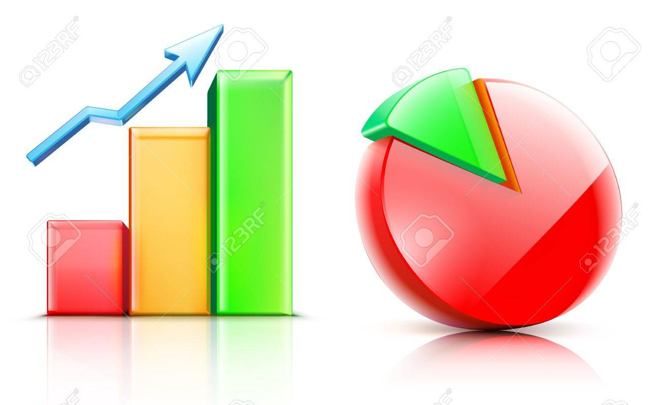 illustration of shiny bar and pie chart Stock Vector - 15064142