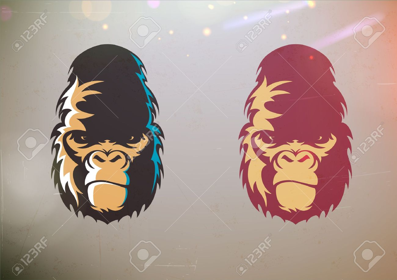 Vector illustration of fun cartoon stylized gorilla smirk face in two color variations - 15939469