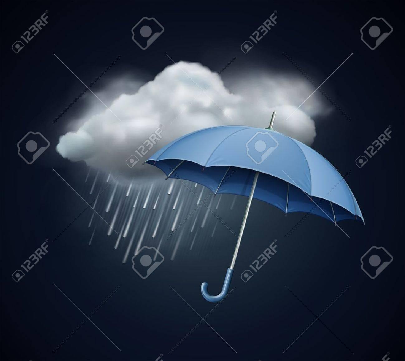 Rain Falling Umbrella