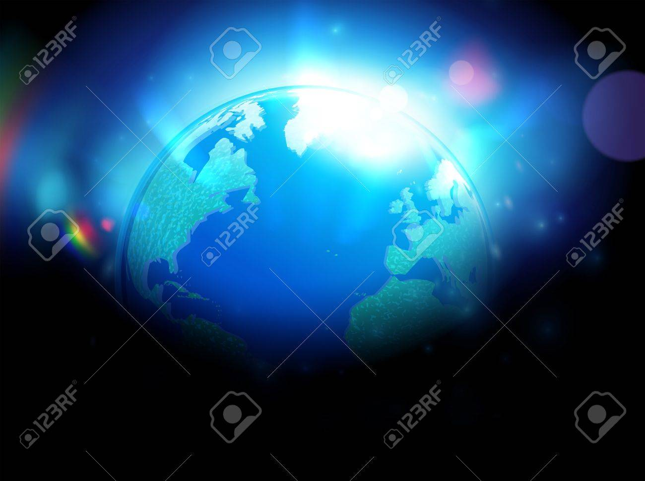Wereldbol Met Licht : Vector illustration of detailed glossy earth map globe over blurred