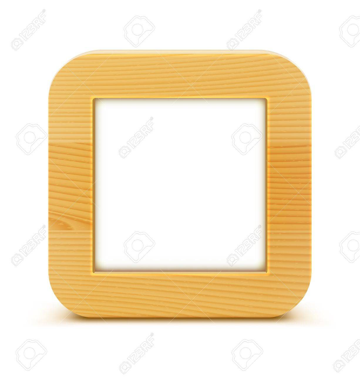illustration of detailed square wooden frame isolated on white background. Stock Vector - 16720251