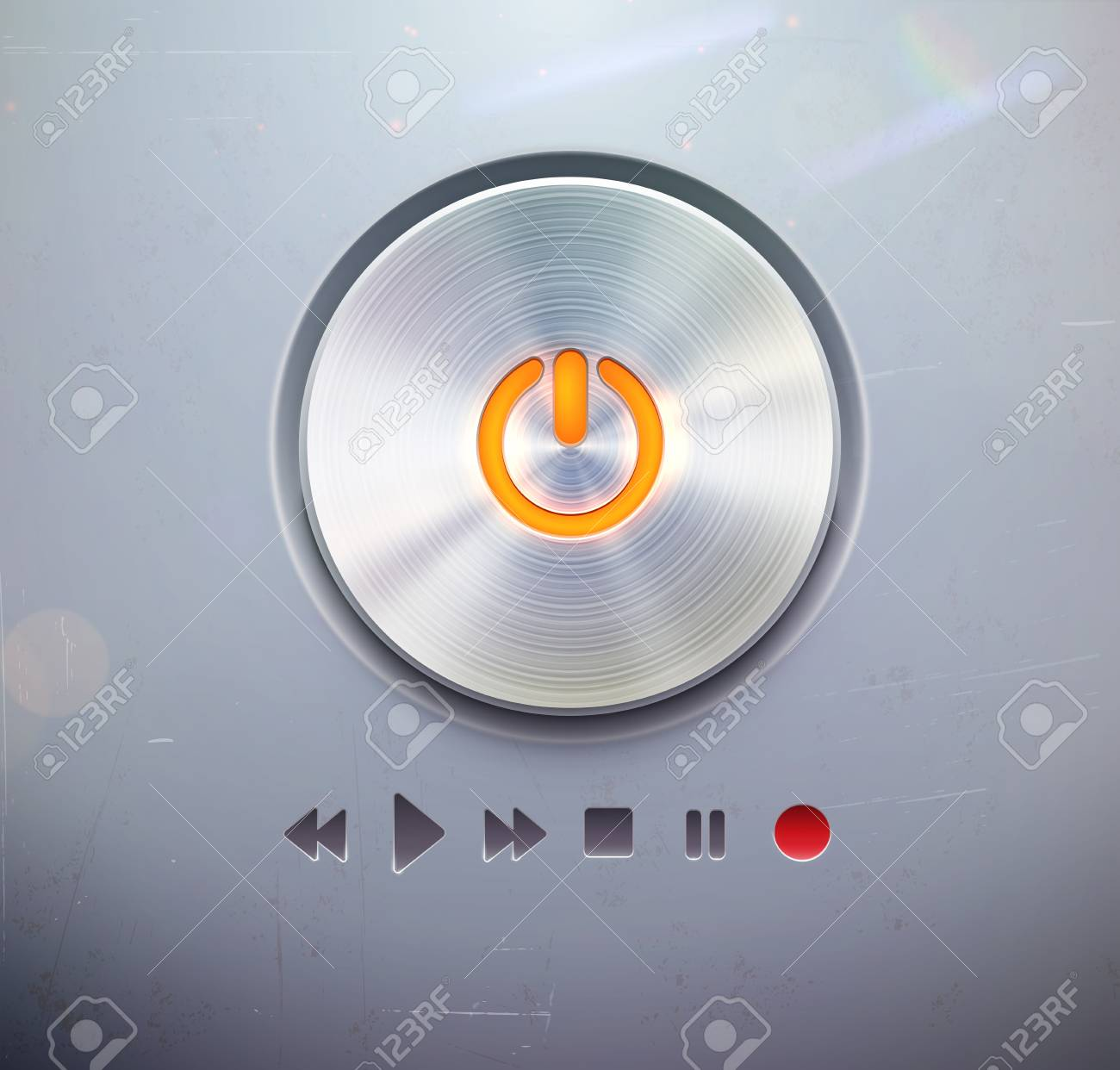 illustration of the detailed round power button for media player &acirc, buttons in metallic style. Good for your websites, blogs or applications. Stock Vector - 16777702