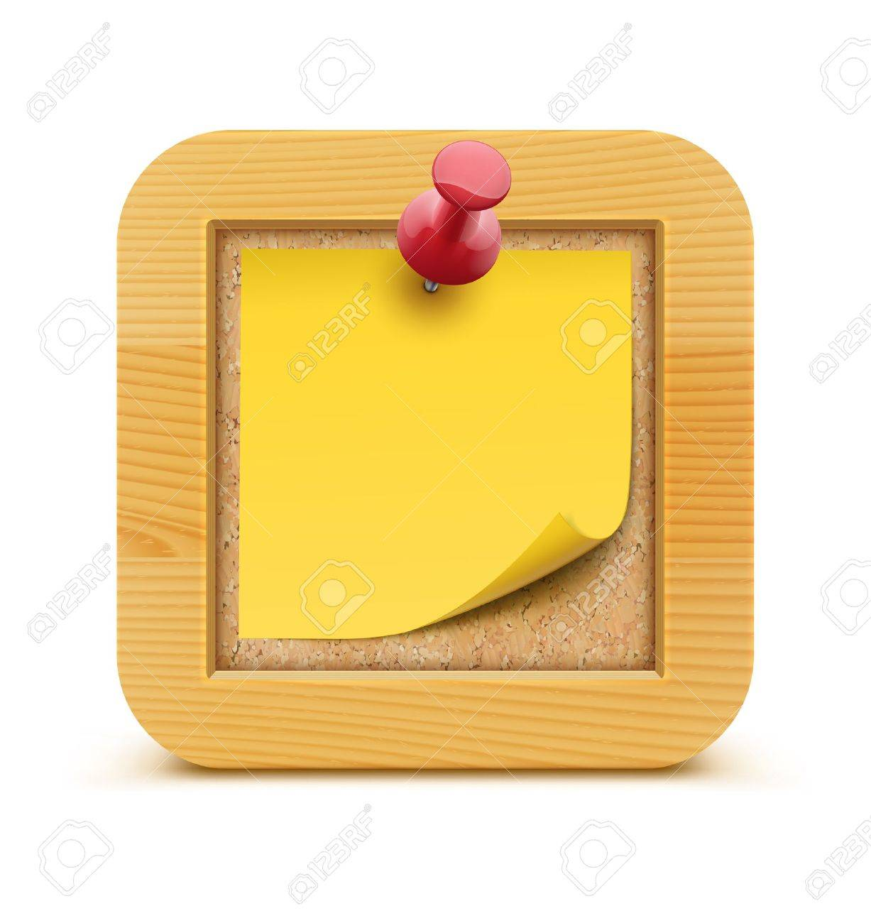 Vector illustration of post it note in on the cork bulletin board with wood frame - 17012480