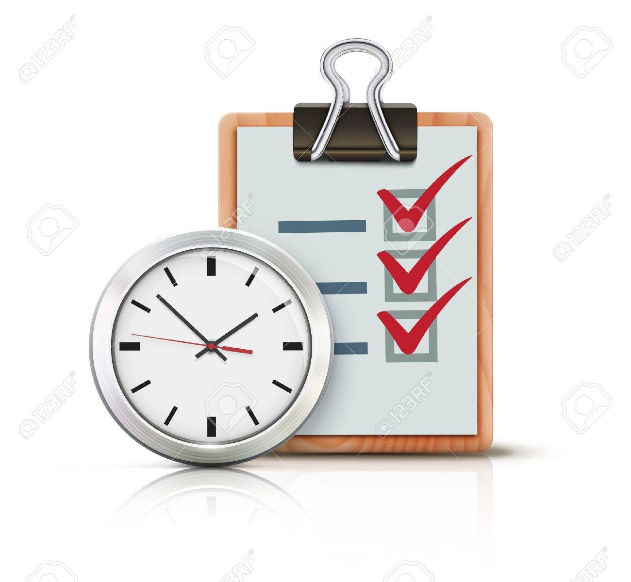 Vector illustration of timing concept with classic office clock and check list on clipboard isolated on white background Stock Vector - 17359232