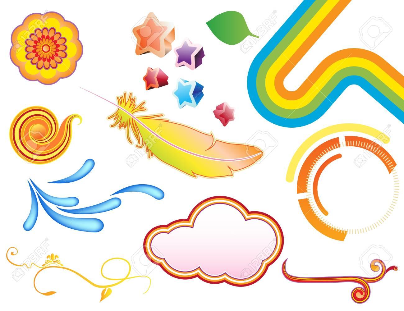 Vector illustration set of funky summer design elements. Set-2 Stock Vector - 17359226