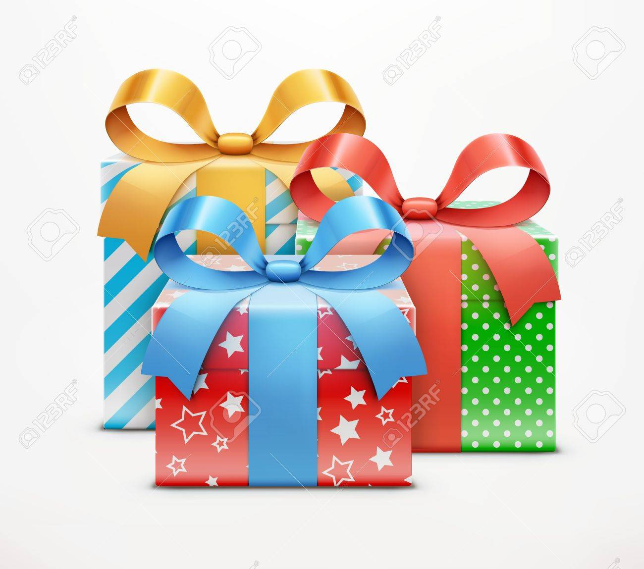 illustration of three color present boxes isolated on white background. Stock Vector - 17431995