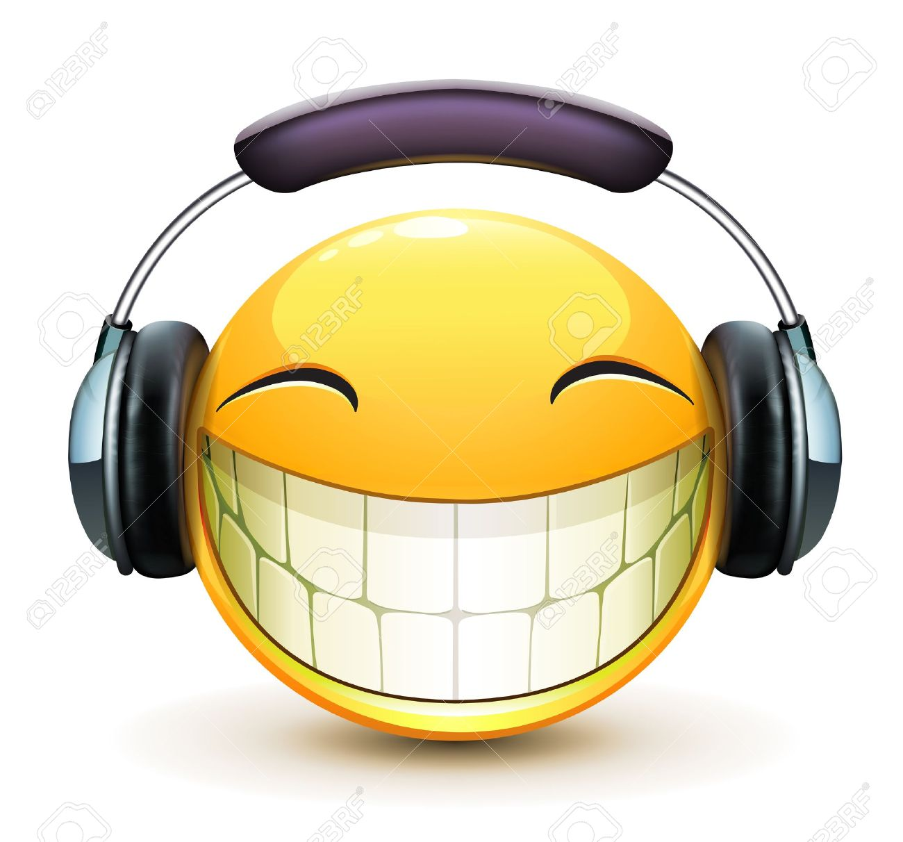 Vector illustration of cool glossy single musical emoticon with detailed headphones - 17595024