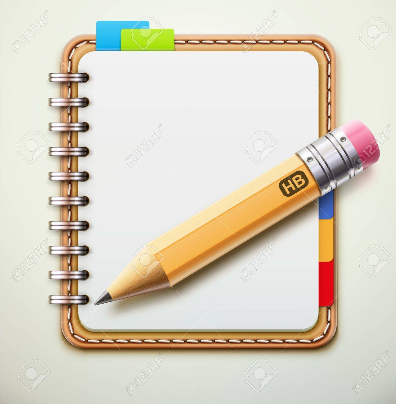 illustration of realistic leather spiral notebook and detailed pencil Stock Vector - 17742703