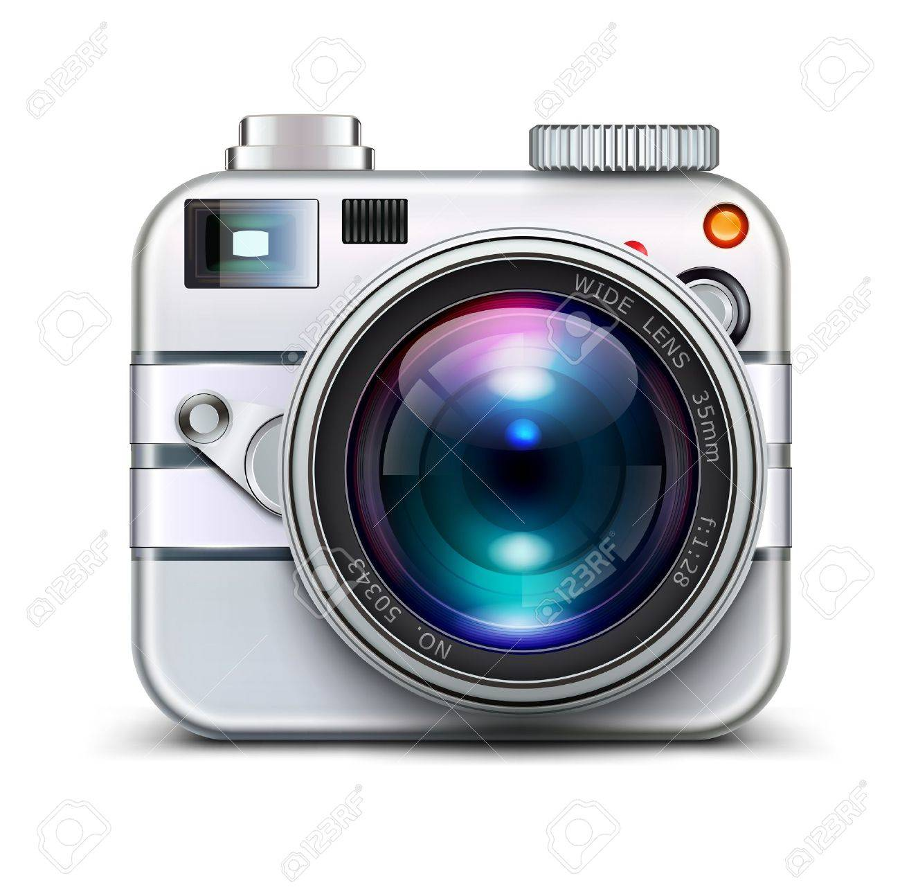 Vector illustration of detailed icon representing metal style photo camera with lens Stock Vector - 17850225