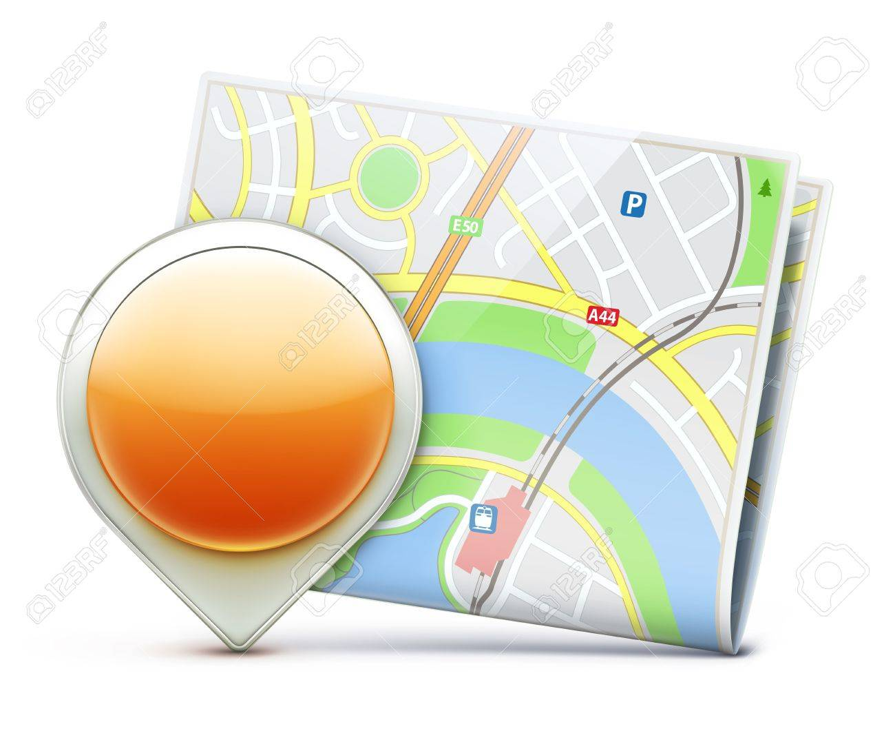 Vector Ilration Of Global Navigation Concept With City Map And Glossy Location Pointer Icon Stock Vector