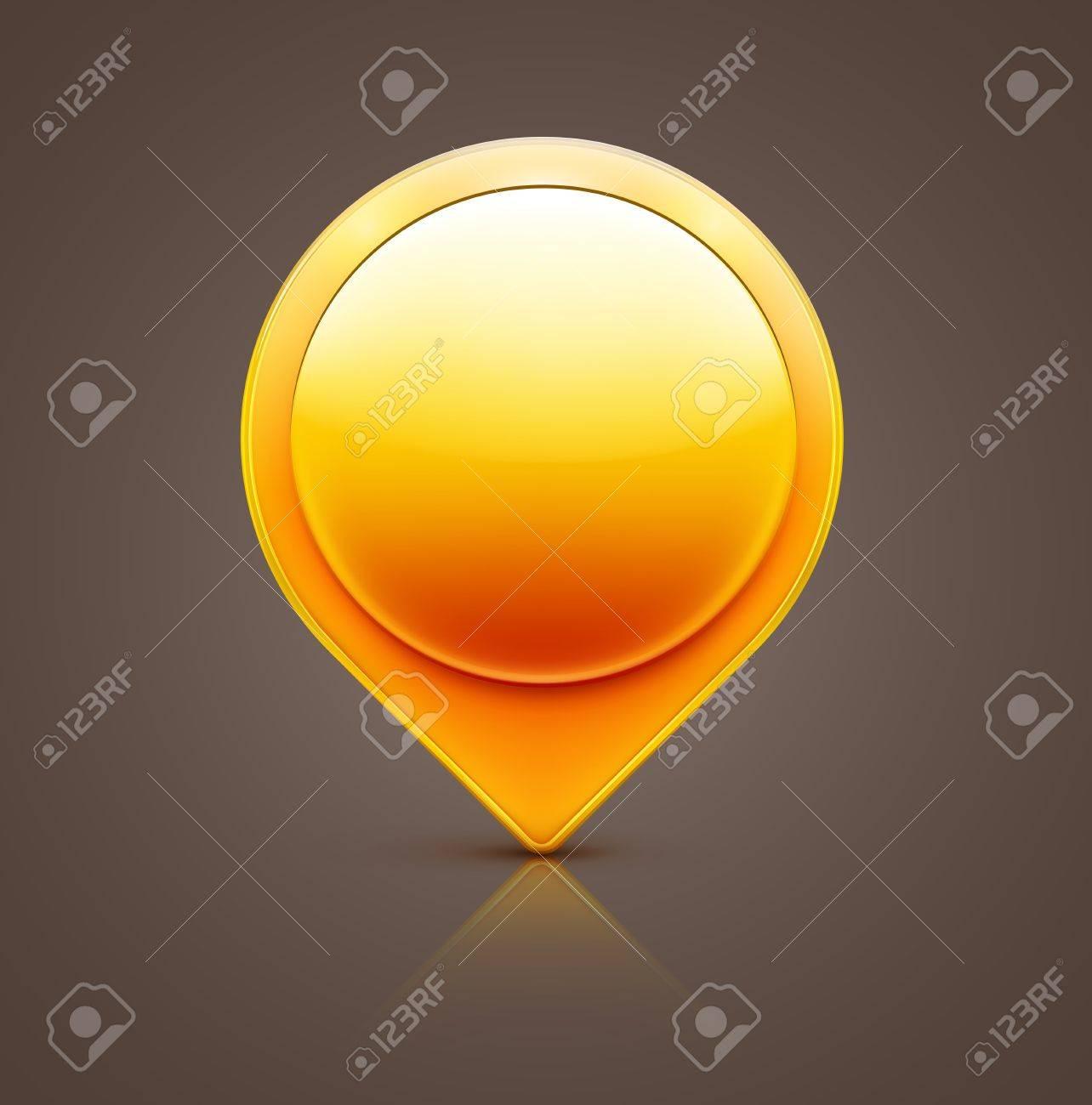 illustration of glossy orange map location pointer icon Stock Vector - 17969413