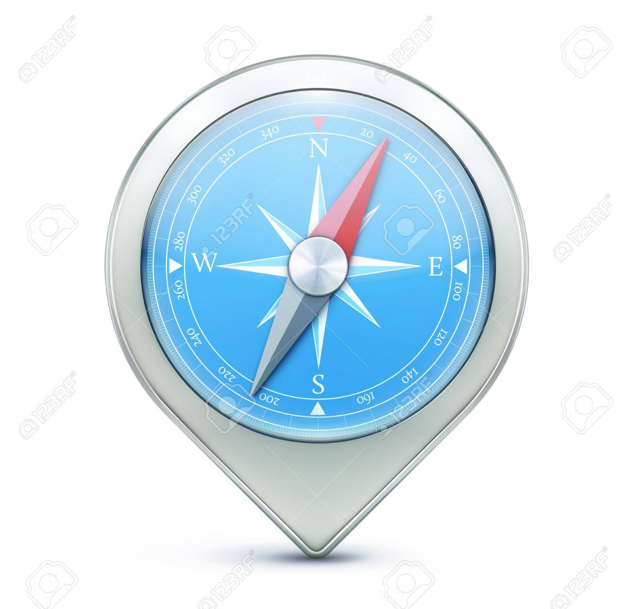 illustration of highly detailed blue compass as map location pointer icon Stock Vector - 18406013